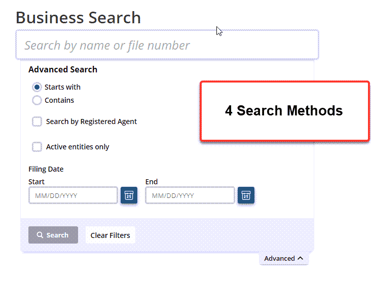 Idaho Secretary of State Business Search - Step 2 Database search methods