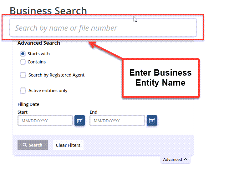 Idaho Secretary of State Business Search - Step 2 Method 1 Search by Business Name