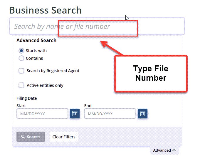 Idaho Secretary of State Business Search - Step 2 Method 3 Search by File Number