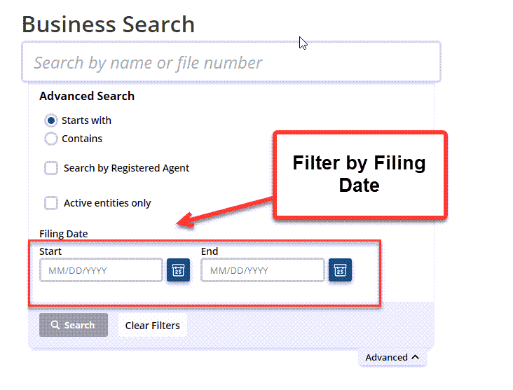 Idaho Secretary of State Business Search - Step 2 Method 4 Search by Filing Date