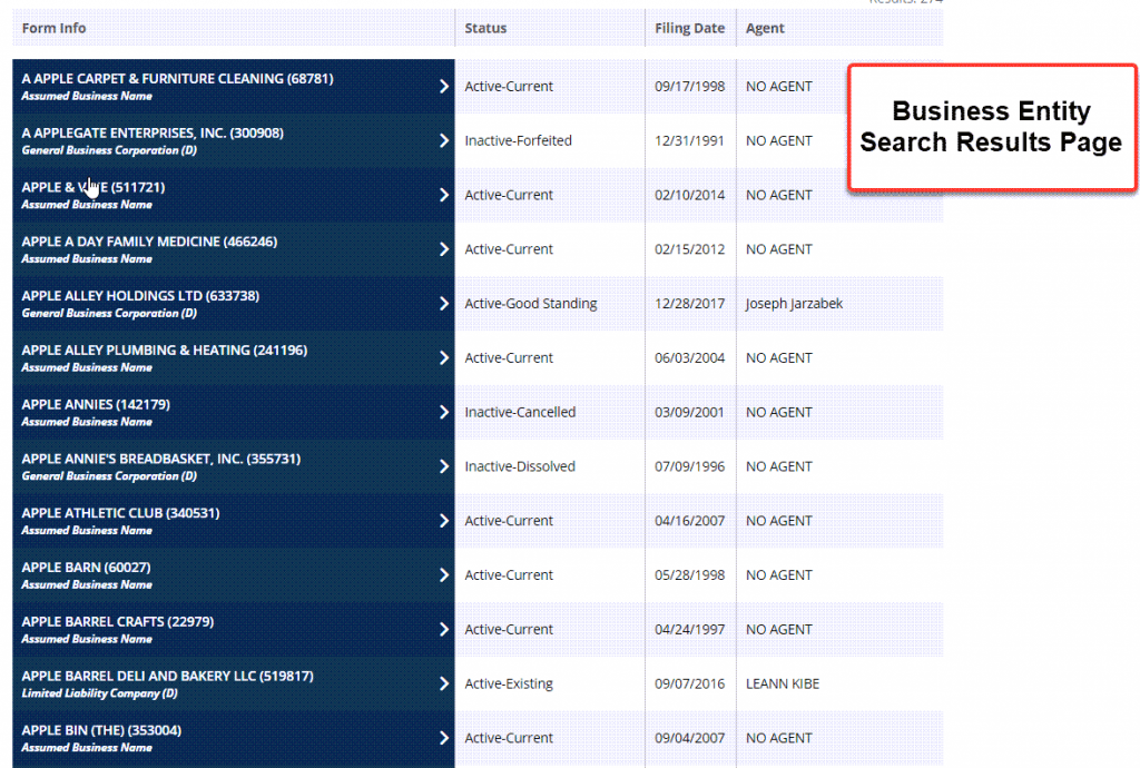 Idaho Secretary of State Business Search - Step 3 Search results