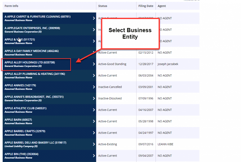 Idaho Secretary of State Business Search - Step 4 Select entity