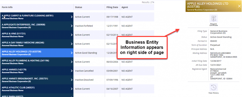 Idaho Secretary of State Business Search - Step 5 Business entity information
