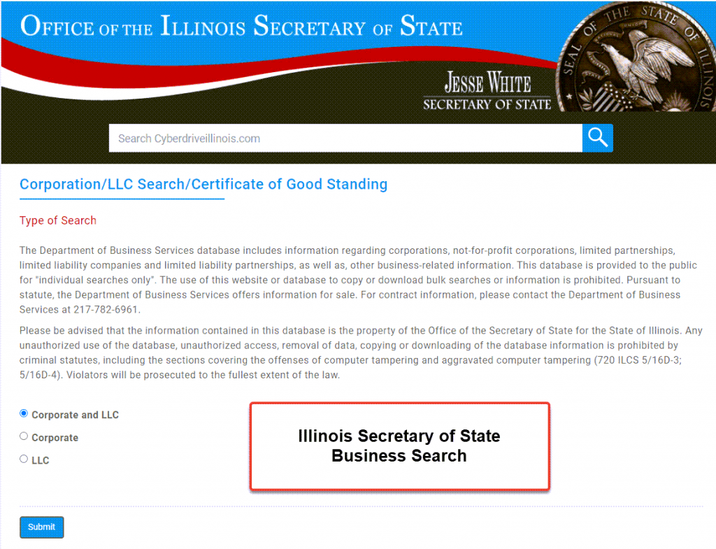 Illinois Secretary of State Business Search - Step 1 Business Search Registry