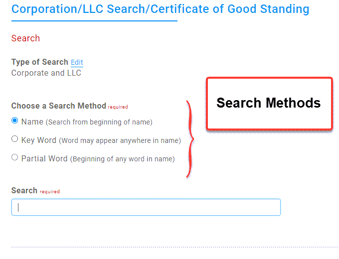 Illinois Secretary of State Business Search - Step 2 Database search methods