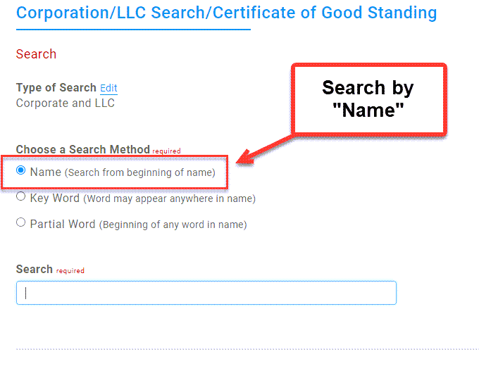 Illinois Secretary of State Business Search - Step 2 Method 1 Search by entity name