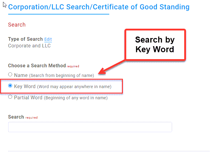 Illinois Secretary of State Business Search - Step 2 Method 2 Search by Key Word