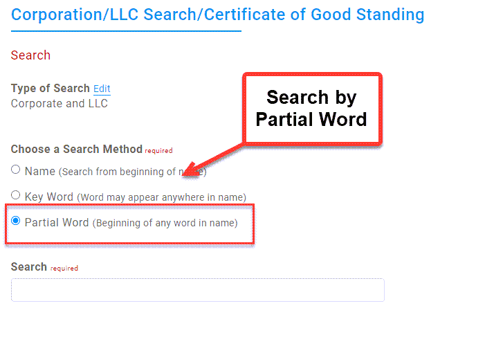 Illinois Secretary of State Business Search - Step 2 Method 3 Search by Partial Word
