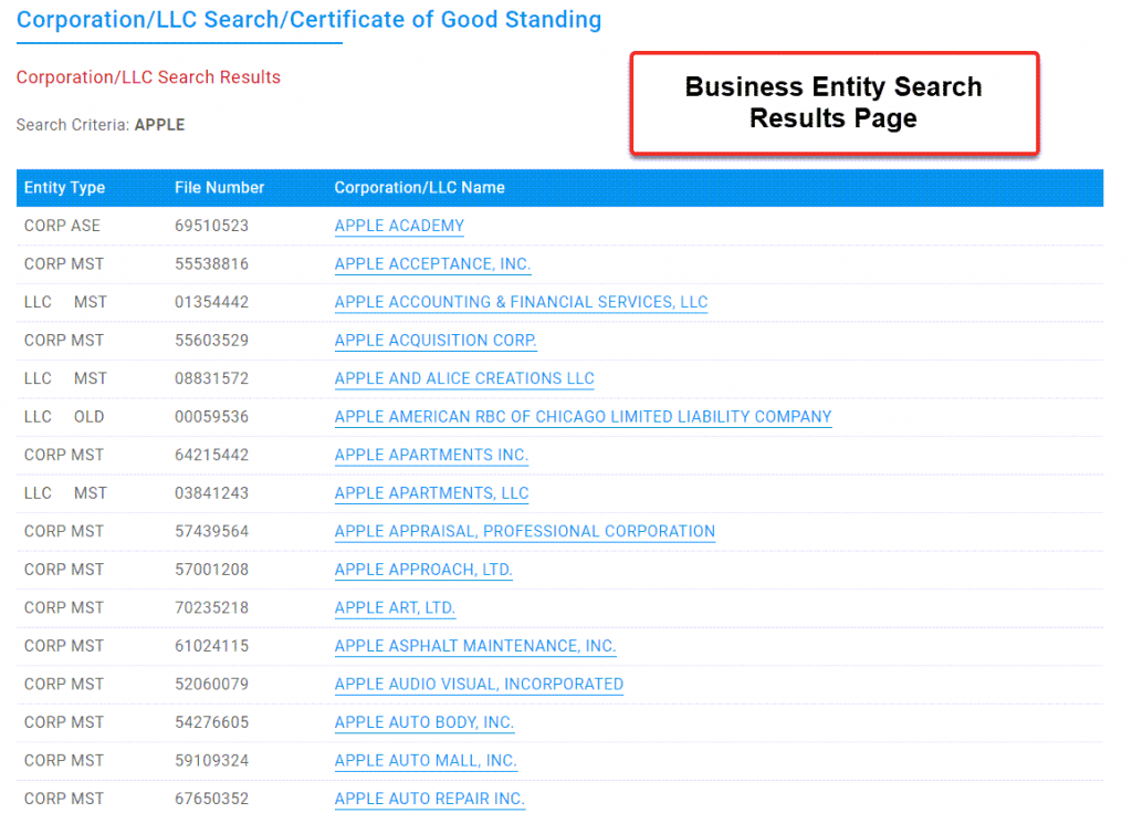 Illinois Secretary of State Business Search - Step 3 Search results