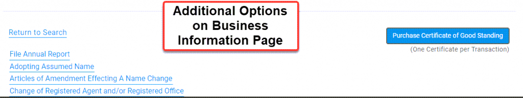 Illinois Secretary of State Business Search - Step 5 Business entity information Additional Options