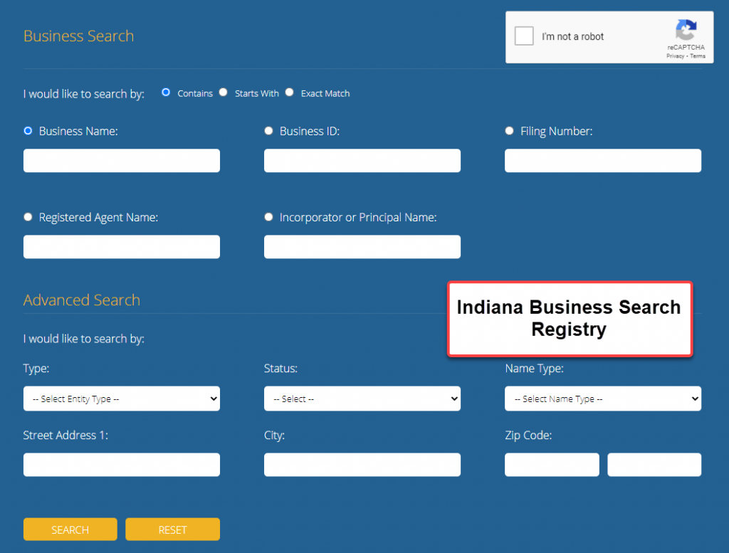 Indiana Secretary of State Business Search - Step 1 Indiana Business Search Registry