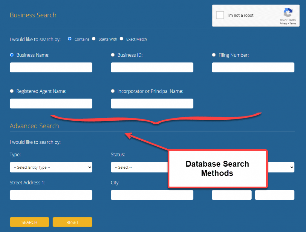 Indiana Secretary of State Business Search - Step 2 Database Search Methods