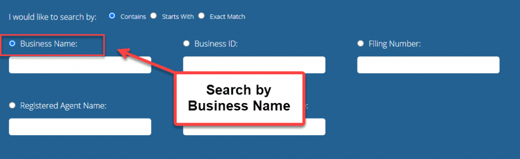 Indiana Secretary of State Business Search - Step 2 Method 1 Search by Business Name