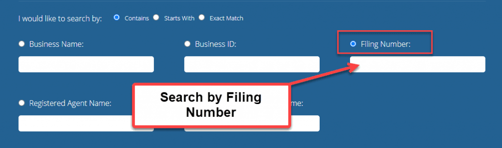 Indiana Secretary of State Business Search - Step 2 Method 3 Search by Filing Number