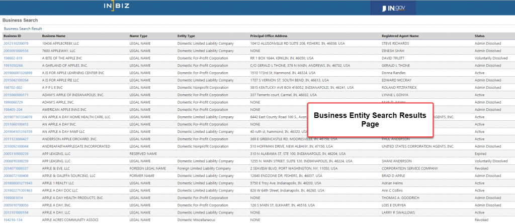 Indiana Secretary of State Business Search - Step 3 Business Entity Search Results Page