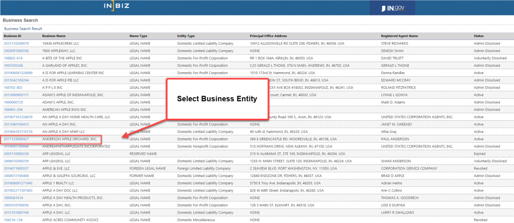Indiana Secretary of State Business Search - Step 4 Select Business Entity